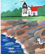 The Shores of Nova Scotia Folk Art Painting Lighthouse & Seagulls FREE S... - $25.00