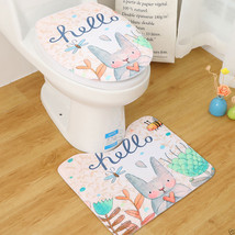 2X Cut Rabbit Anti-slip Bathroom Carpet Lid Pedestal Rug Bathmat Toilet ... - $12.71