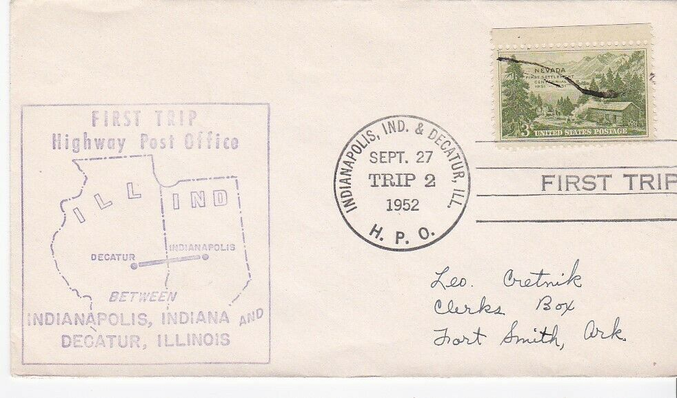 FIRST TRIP H.P.O. INDIANAPOLIS IND & DECATUR ILL SEPT 27 1952 TRIP 2