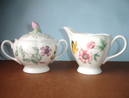 Lenox BUTTERFLY MEADOW Covered Sugar Bowl & Creamer Set New - $72.90