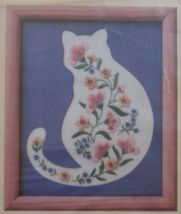 """1989 Creative Circle Cat 'n Mat Floral Embroidery Kit 8"""" x 10"""" New - $18.99"""