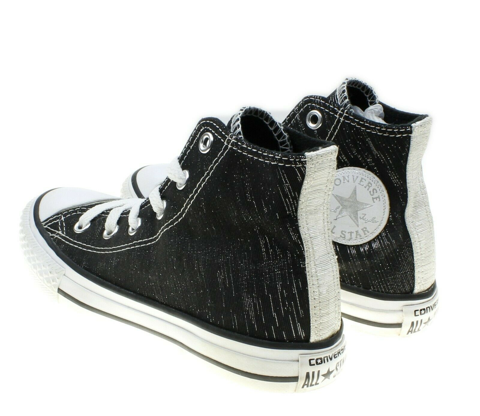 Converse All Stars Chuck Taylors Girls Black Silver Metallic Sneakers Youth 13