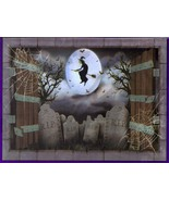 6-Ft. Creepy Witch Flying Over Cemetery Silhouette Halloween Wall Table ... - $4.94