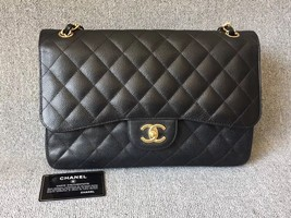 NEW AUTHENTIC CHANEL BLACK CAVIAR QUILTED JUMBO DOUBLE FLAP BAG GHW