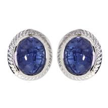 Bezel Set Tanzanite Cabochon 925 Sterling Silver Women/Girl Stud Earring... - $17.95