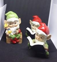 Vintage Porcelain HOMCO set 5406 Christmas 3 ELVES Santa's Toy Makers Elf Pixie - $23.38