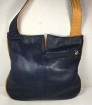 The Orvis Company Vintage Blue/Yellow Soft Leather Hobo Shoulder Bag-Dis... - $58.19