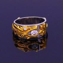 18 K YELLOW GOLD RING BAND RHODIUM HAND CRAVED DRAGON WORK BAND UNISEX J... - $989.99