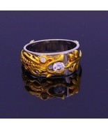 18 K YELLOW GOLD RING BAND RHODIUM HAND CRAVED DRAGON WORK BAND UNISEX JEWELRY - $989.99