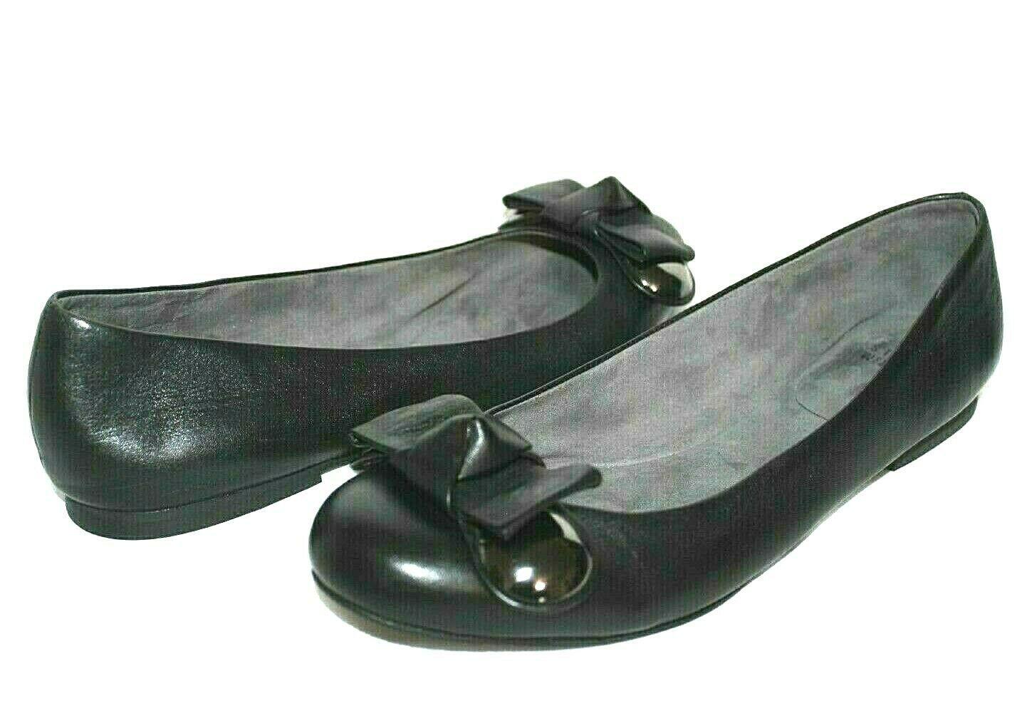 ❤️ STUART WEITZMAN Buono Bow Black Nappa Leather Flats 9 M GREAT! L@@K!23 - $34.19