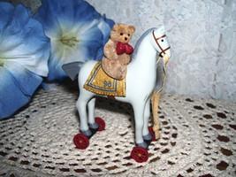HALLMARK ORNAMENT TEDDY BEAR ON PULL HORSE 1998 - $15.98