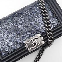 AUTHENTIC CHANEL BLACK Limited Edition Embroidery Leaf Medium Boy Flap Bag image 5