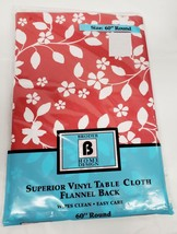 """Superior Tablecloth Vinyl Flannel Back, 60"""" Round (4-6 Ppl) White Leaves On Red - $15.83"""