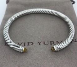 David Yurman S/S 925 5mm Cable Citrine Diamonds Cuff Bracelet - $299.99