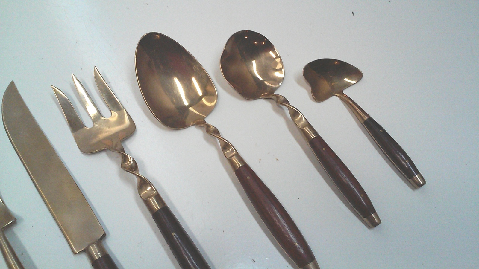 Vintage Bronze and Rosewood Flatware Set, Service for Eight Plus Serving Pieces