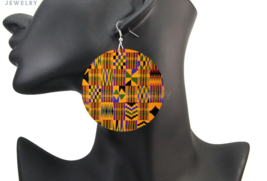 African Fabric Bohemian Wooden Drop Earrings Printed Both Sides - $5.49