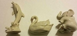 "Lenox Collection ""Ivory & Gold Animal Trio"" 24kt Gold Elephant Dolphin Swan Set - $38.88"