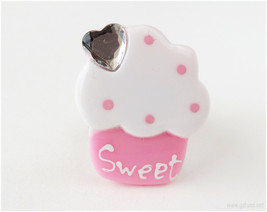Huge Cupcake Ring, Pink, Adjustable - Sweet Lolita, Decora - $8.00