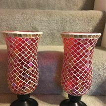 Mosaic Red Multi Stained Glass Tiles Hurricane Candle Holder  / Vase~ A ... - $40.00