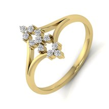 Solid 925 Sterling Silver Yellow Gold 0.16ct Diamond Ring Proposal Gift ... - $79.99