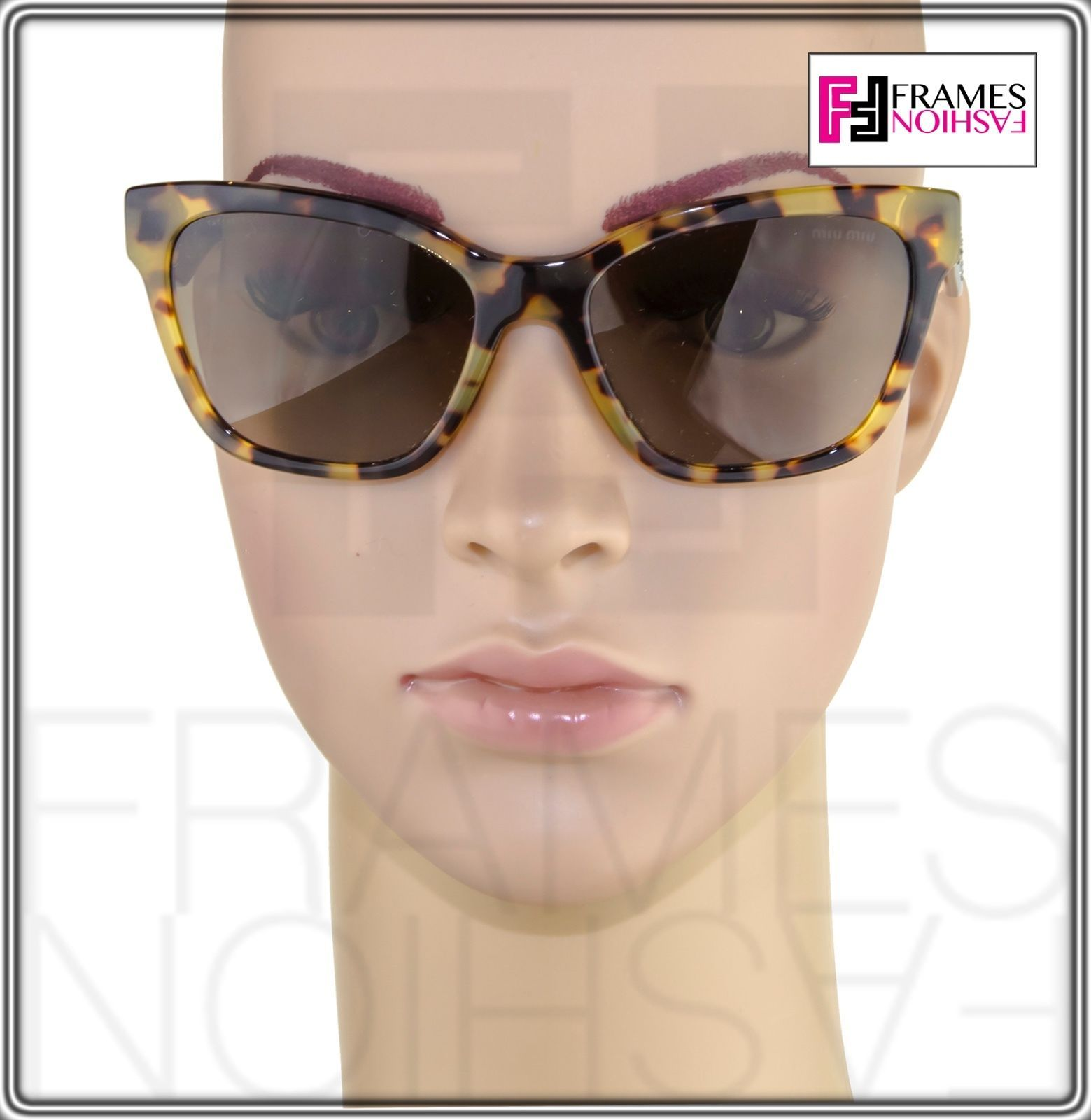 MIU MIU PAVE EVOLUTION MU 06R Square Brown Havana Silver Rock Sunglasses MU06RS image 3