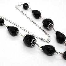 Necklace Silver 925, Onyx Black round, Drop, Bunch Pendant image 4