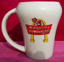 MCDONALDS COFFEE MUG CUP HAMBURGERS SODA GLASS VINTAGE SHAPE STONEWARE 4... - $21.03