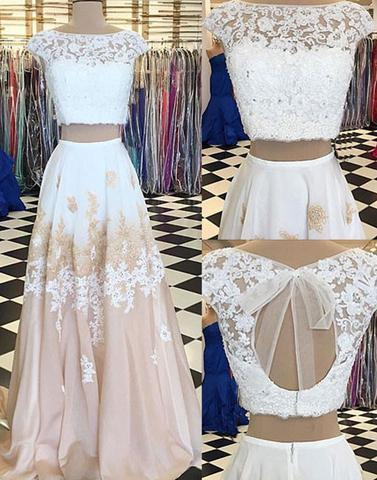 white two pieces lace long prom dresses,cap sleeves evening dresses,BD172610