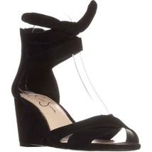 Jessica Simpson Cyrena Ankle Strap Wedge Sandals, Black, 5 US / 35 EU - $31.67