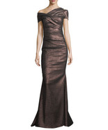 Talbot Runhof Moa Metallic One-Shoulder Ruched Gown (Size 34/4) - MSRP $... - $899.95