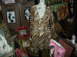 St John Swim Wild Leopard Print Sheer Blouse Size S - $34.65
