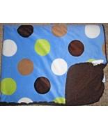 Carters Baby Blanket Large Polka Dots Blue Brown Green Tan White Sherpa - $23.64