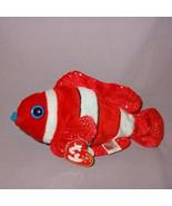 "Jester Clown Fish Ty Beanie Baby Plush Stuffed Animal 8"" Long Red White ... - $20.99"