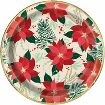 "Red and Gold Poinsettia 8 Ct Paper Foil Luncheon Dinner 9"" Plates Christmas - $3.95"