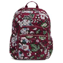 Vera Bradley Quilted Signature Cotton Iconic Campus Backpack, Bordeaux Blooms