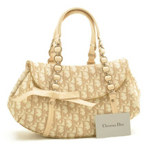 CHRISTIAN DIOR Trotter Canvas Chain Shoulder Bag White Auth ar1956 - $260.00