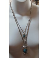 Double Owl Silvertone Blue Belly Rhinestone Eyes Necklace - $18.80
