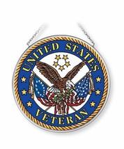 "United States Veteran Sun Catcher AMIA 4.5"" Round Hand Painted Glass New - €18,02 EUR"