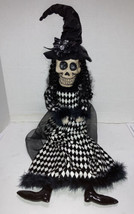 """Halloween Skeleton Witch Harlequin Shelf Sitter Doll Resin Skull 30"""" Pos... - $34.99"""