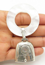 WEB 925 Silver - Vintage White Milky Quartz Birth Record Dangling Bell -... - $43.10