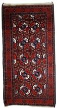 Hand made antique Afghan Baluch rug 3.6' x 7.3' ( 112cm x 223cm ) 1900s ... - $880.00