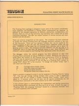 TERADYNE Operations Manual: Floating Point Math Manual ~ January 1979 - $11.87