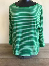 Lauren Ralph Lauren Women's Shirt Large White Green Striped 3/4 Sleeve  - $14.84