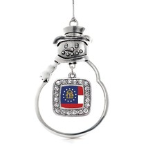 Inspired Silver Georgia Flag Classic Snowman Holiday Christmas Tree Ornament Wit - $14.69