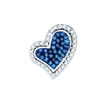 10k White Gold Round Blue Color Enhanced Diamond Heart Love Fashion Pendant 1/8 - $179.00