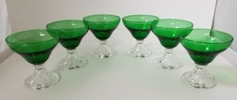 """Footed Custard Bowls Set of 6 Forest Green Footed Dessert Fruit Dishes 4"""" - $38.69"""