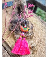 Tribal Hmong earrings with long pink tassels and glass beads, Boho jewelry - $14.00