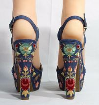 Jessica Simpson Divella Damen High Heels Offen Sandalen Denim Stickerei Größe 7 image 6
