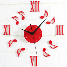 Usic notes wall clock acrylic hanging quartz watch creactive sticker christmas new year thumb200