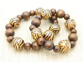 Zebra Animal Print Brown Wood Wooden Bead Stretch Bracelets Lot of 2 Vintage - $19.80